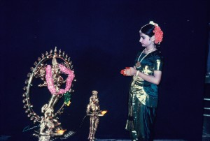 Mathura offering prayers before the start of the performance.
